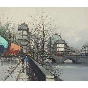 ヨーロッパ絵画 油絵 F12号 ニネッティ作「パリの街」6-新品-特価-|touo