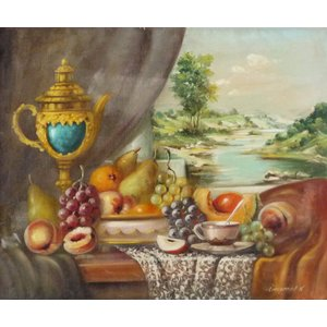 ヨーロッパ絵画 肉筆油絵 F12号 レインプレヒト作「静物」-新品-特価-|touo