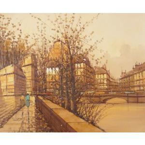 ヨーロッパ絵画 肉筆油絵 F12号 ナルディーニ作「パリの街」-新品-特価-|touo