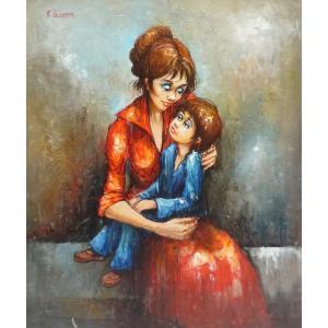 ヨーロッパ絵画 油絵 F12号 レコムテ作「母と子」-新品-特価-|touo