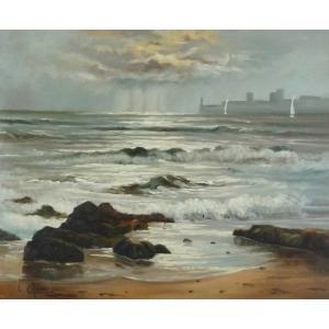 ヨーロッパ絵画 油絵 F12号 シェニュ作「朝焼けの海」1|touo