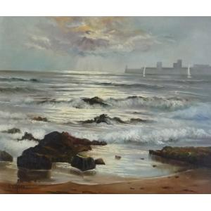 ヨーロッパ絵画 油絵 F12号 シェニュ作「朝焼けの海」2|touo