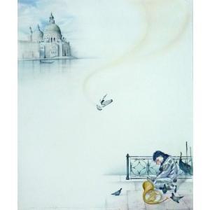 ヨーロッパ絵画 油絵 F20号 ヴィアネロ作「ヴェネチア」2 touo