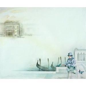 ヨーロッパ絵画 油絵 F20号 ヴィアネロ作「ヴェネチア」3 touo