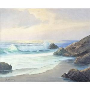 ヨーロッパ絵画 油絵 F20号 フューバー作 「波 海 海景」 1-新品-特価- touo