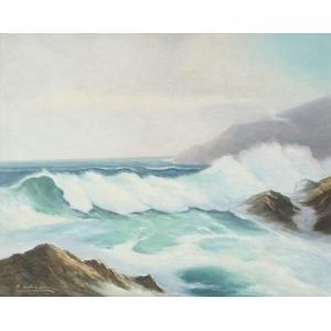 ヨーロッパ絵画 油絵 F20号 フューバー作 「波 海 海景」 2-新品-特価- touo