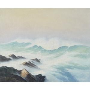 ヨーロッパ絵画 油絵 F20号 フューバー作 「波 海 海景」 3-新品-特価- touo