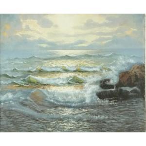ヨーロッパ絵画 油絵 F20号 ジアルディーノ作 「朝焼けの海」 -新品-特価- touo
