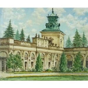 ヨーロッパ絵画 油絵 F20号 オクリクス作 「ワルシャワ ヴィラヌフ宮殿」-新品-特価- touo