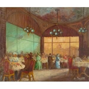 ヨーロッパ絵画 油絵 F20号 マローネ作 「パリのレストラン」-新品-特価- touo