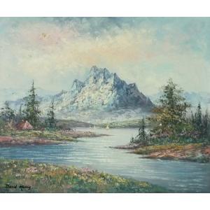 ヨーロッパ絵画 油絵 F20号 デビッド・モリス作 「山と湖」-新品-特価- touo