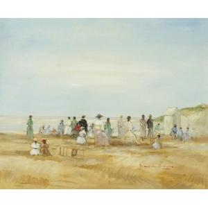ヨーロッパ絵画 油絵 F20号 ベルブラッギー作 「浜辺」1-新品-特価- touo