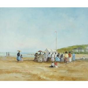 ヨーロッパ絵画 油絵 F20号 ベルブラッギー作 「浜辺」2-新品-特価- touo