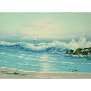 絵画 肉筆油絵 F4号 「波 海 海景画」-111-特価-|touo