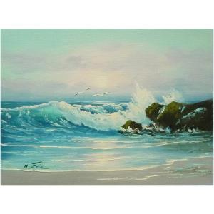 絵画 肉筆油絵 F4号 「波 海 海景画」-112-特価-|touo