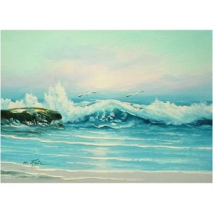 絵画 肉筆油絵 F4号 「波 海 海景画」-115-特価-|touo
