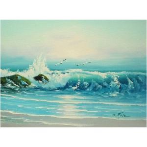 絵画 肉筆油絵 F4号 「波 海 海景画」-116-特価-|touo
