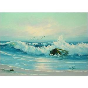 絵画 肉筆油絵 F4号 「波 海 海景画」-117-特価-|touo
