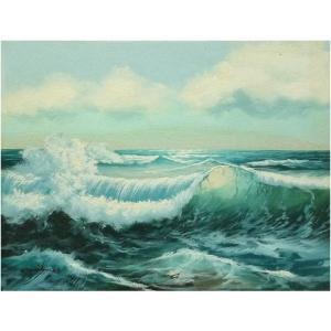 絵画 肉筆油絵 F4号 「波 海 海景画」-118-特価-|touo