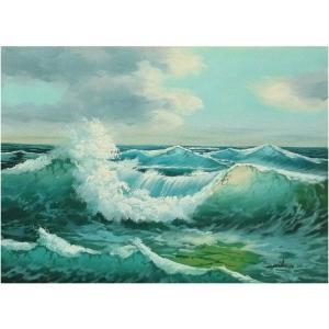 絵画 肉筆油絵 F4号 「波 海 海景画」-119-特価-|touo