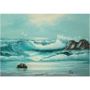 絵画 肉筆油絵 F4号 「波 海 海景画」-120-特価-|touo