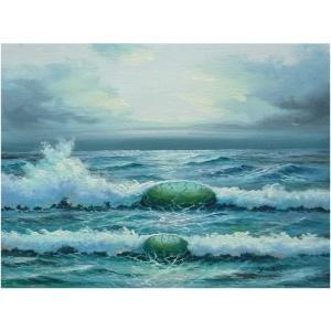 絵画 肉筆油絵 F4号 「波 海 海景画」-121-特価-|touo