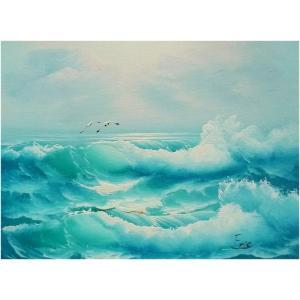 絵画 肉筆油絵 F4号 「波 海 海景画」-122-特価-|touo