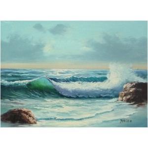 絵画 肉筆油絵 F4号 「波 海 海景画」-123-特価-|touo