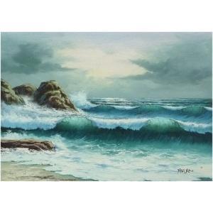 絵画 肉筆油絵 F4号 「波 海 海景画」-124-特価-|touo