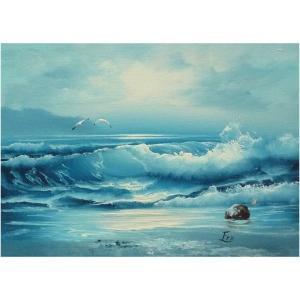絵画 肉筆油絵 F4号 「波 海 海景画」-125-特価-|touo