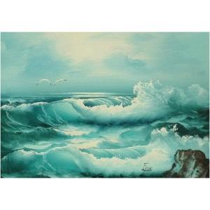 絵画 肉筆油絵 F4号 「波 海 海景画」-126-特価-|touo