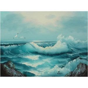 絵画 肉筆油絵 F4号 「波 海 海景画」-127-特価-|touo