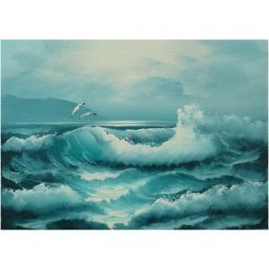 絵画 肉筆油絵 F4号 「波 海 海景画」-128-特価-|touo