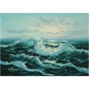 絵画 肉筆油絵 F4号 「波 海 海景画」-129-特価-|touo