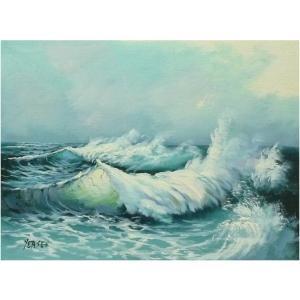 絵画 肉筆油絵 F4号 「波 海 海景画」-130-特価-|touo