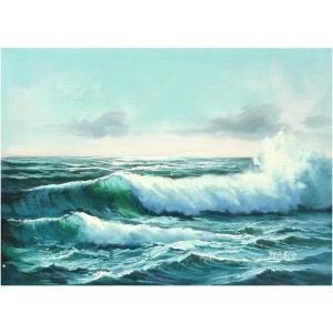 絵画 肉筆油絵 F4号 「波 海 海景画」-131-特価-|touo