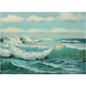 絵画 肉筆油絵 F4号 「波 海 海景画」-132-特価-|touo