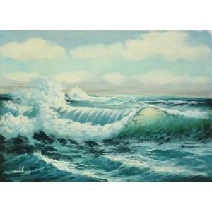 絵画 肉筆油絵 F4号 「波 海 海景画」-133-特価-|touo