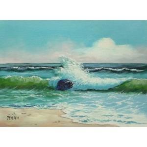 絵画 肉筆油絵 F4号 「波 海 海景画」-134-特価-|touo