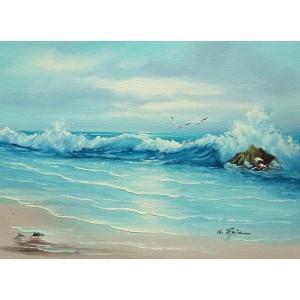 絵画 肉筆油絵 F4号 「波 海 海景画」-135-特価-|touo