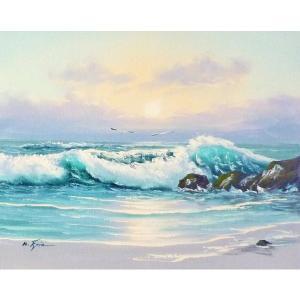 絵画 肉筆油絵 F6号 「波 海 海景画」-161-特価-|touo