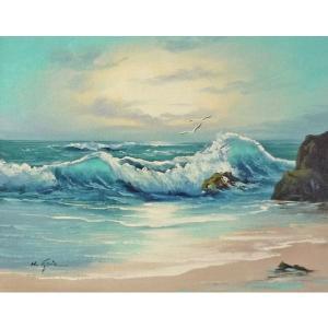 絵画 肉筆油絵 F6号 「波 海 海景画」-162-特価-|touo