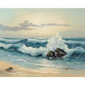 絵画 肉筆油絵 F6号 「波 海 海景画」-163-特価-|touo