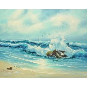 絵画 肉筆油絵 F6号 「波 海 海景画」-164-特価-|touo