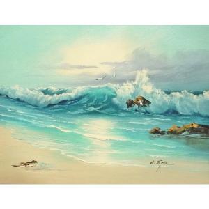 絵画 肉筆油絵 F6号 「波 海 海景画」-165-特価-|touo