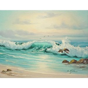 絵画 肉筆油絵 F6号 「波 海 海景画」-166-特価-|touo