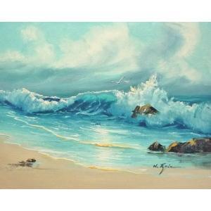 絵画 肉筆油絵 F6号 「波 海 海景画」-167-特価-|touo