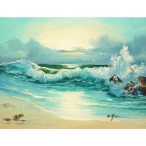 絵画 肉筆油絵 F6号 「波 海 海景画」-168-特価-|touo