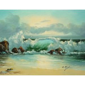 絵画 肉筆油絵 F6号 「波 海 海景画」-169-特価-|touo