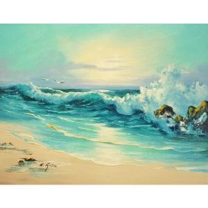 絵画 肉筆油絵 F6号 「波 海 海景画」-170-特価-|touo
